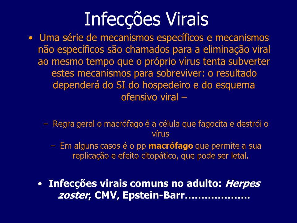 Infecções Virais Uma série de mecanismos específicos e mecanismos não específicos são chamados para a eliminação viral ao mesmo tempo que o próprio ví