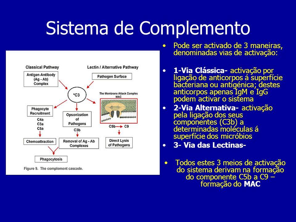 Sistema de Complemento Pode ser activado de 3 maneiras, denominadas vias de activação: 1-Via Clássica- activação por ligação de anticorpos á superfíci