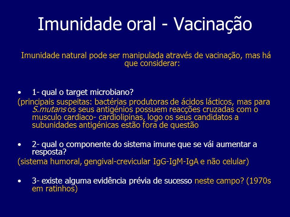 Imunidade oral - Vacinação Imunidade natural pode ser manipulada através de vacinação, mas há que considerar: 1- qual o target microbiano? (principais