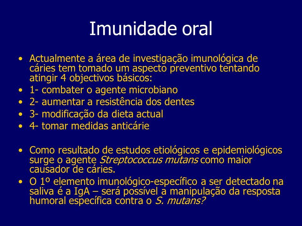 Imunidade oral Actualmente a área de investigação imunológica de cáries tem tomado um aspecto preventivo tentando atingir 4 objectivos básicos: 1- com
