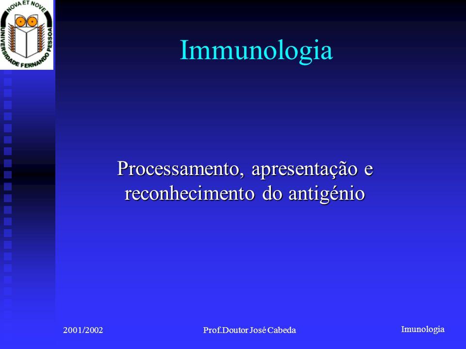 Imunologia 2001/2002Prof.Doutor José Cabeda Immunologia Processamento, apresentação e reconhecimento do antigénio