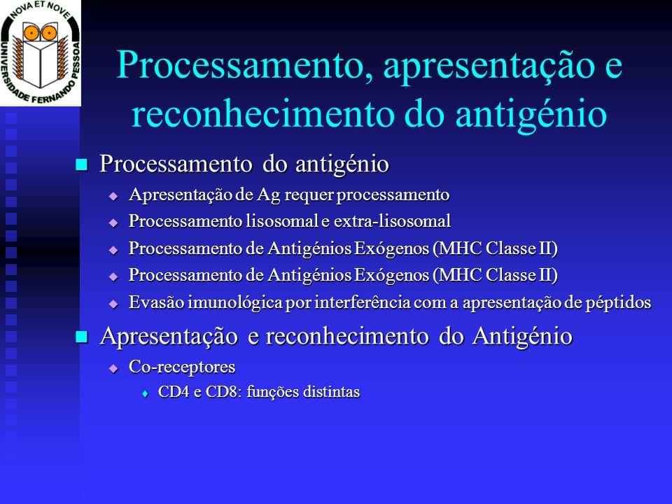 Processamento do antigénio Processamento do antigénio Apresentação de Ag requer processamento Apresentação de Ag requer processamento Processamento lisosomal e extra-lisosomal Processamento lisosomal e extra-lisosomal Processamento de Antigénios Exógenos (MHC Classe II) Processamento de Antigénios Exógenos (MHC Classe II) Evasão imunológica por interferência com a apresentação de péptidos Evasão imunológica por interferência com a apresentação de péptidos Apresentação e reconhecimento do Antigénio Apresentação e reconhecimento do Antigénio Co-receptores Co-receptores CD4 e CD8: funções distintas CD4 e CD8: funções distintas