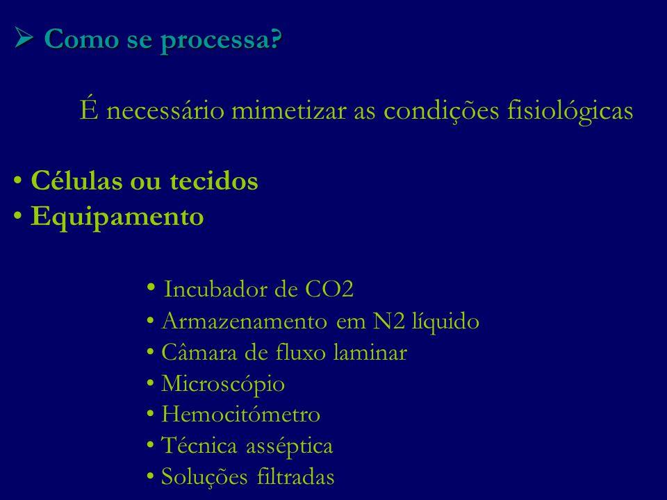Como se processa? Como se processa? É necessário mimetizar as condições fisiológicas Células ou tecidos Equipamento Incubador de CO2 Armazenamento em