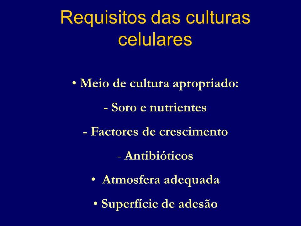 Requisitos das culturas celulares Meio de cultura apropriado: - Soro e nutrientes - Factores de crescimento - Antibióticos Atmosfera adequada Superfíc