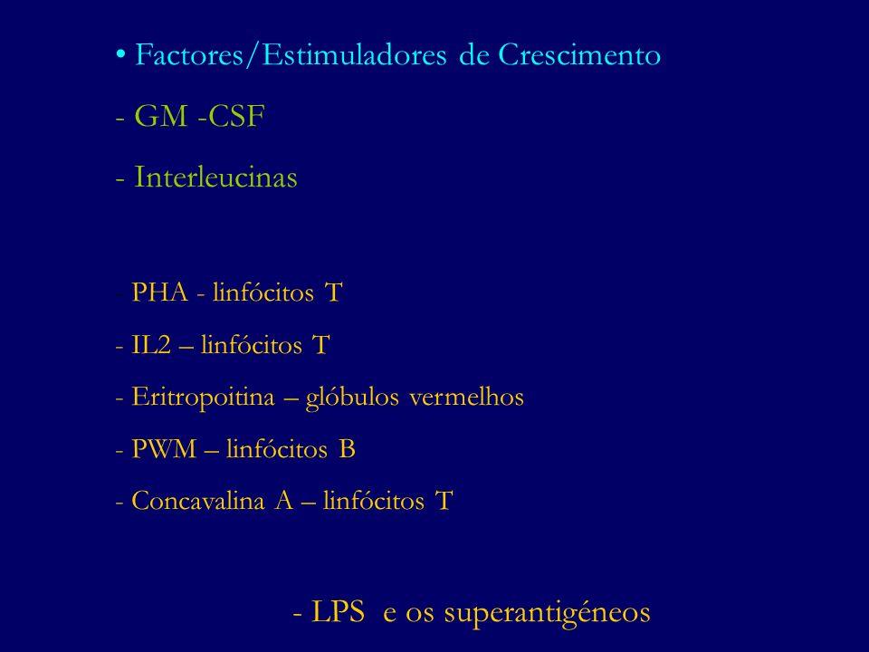 Factores/Estimuladores de Crescimento - GM -CSF - Interleucinas - PHA - linfócitos T - IL2 – linfócitos T - Eritropoitina – glóbulos vermelhos - PWM –