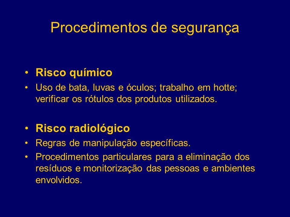 Procedimentos de segurança Risco químico Uso de bata, luvas e óculos; trabalho em hotte; verificar os rótulos dos produtos utilizados. Risco radiológi