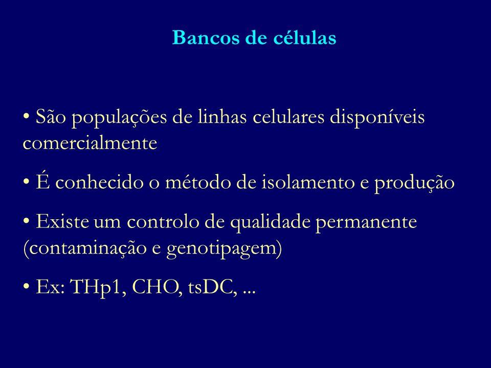 Bancos de células São populações de linhas celulares disponíveis comercialmente É conhecido o método de isolamento e produção Existe um controlo de qu