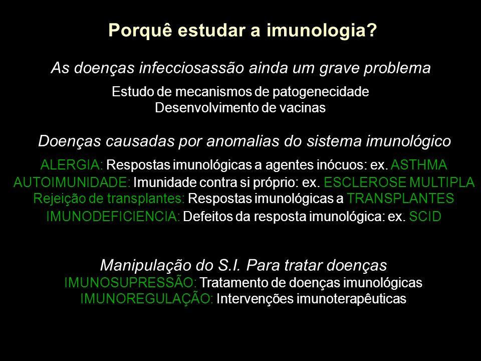 Porquê estudar a imunologia? As doenças infecciosassão ainda um grave problema Estudo de mecanismos de patogenecidade Desenvolvimento de vacinas Doenç