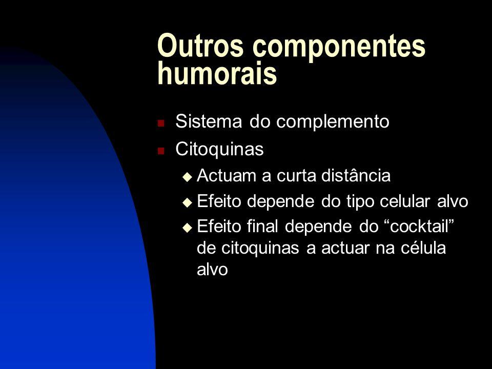 Outros componentes humorais Sistema do complemento Citoquinas Actuam a curta distância Efeito depende do tipo celular alvo Efeito final depende do coc