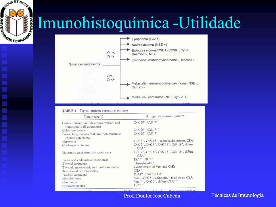 Técnicas de Imunologia Prof. Doutor José Cabeda Imunohistoquímica -Utilidade
