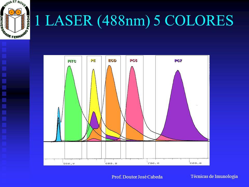 Técnicas de Imunologia Prof. Doutor José Cabeda 1 LASER (488nm) 5 COLORES