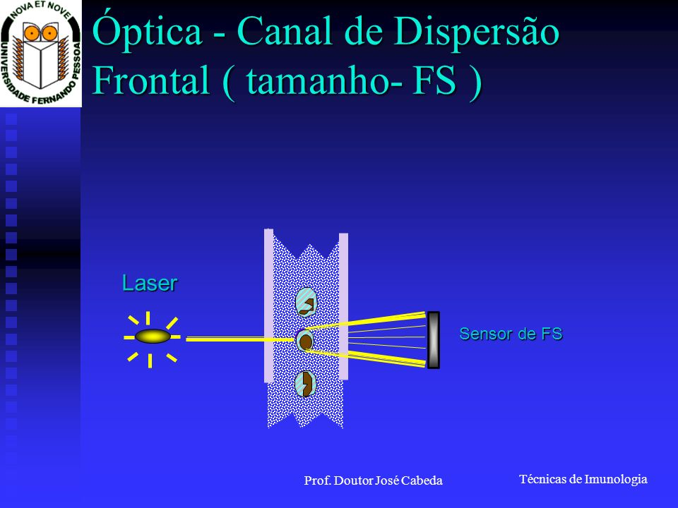 Técnicas de Imunologia Prof. Doutor José Cabeda Óptica - Canal de Dispersão Frontal ( tamanho- FS ) Sensor de FS Laser