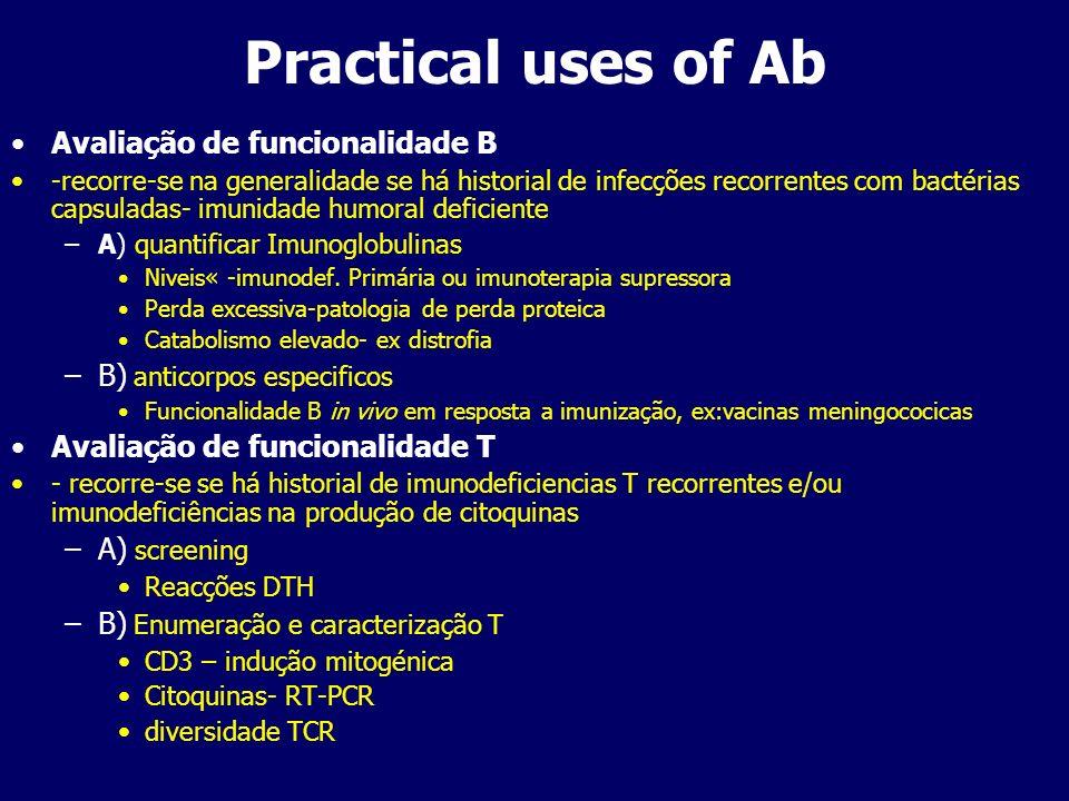 Practical uses of Ab Avaliação de funcionalidade B -recorre-se na generalidade se há historial de infecções recorrentes com bactérias capsuladas- imun