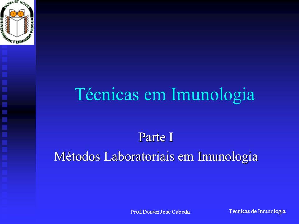 Técnicas de Imunologia Prof.Doutor José Cabeda Técnicas em Imunologia Parte I Métodos Laboratoriais em Imunologia