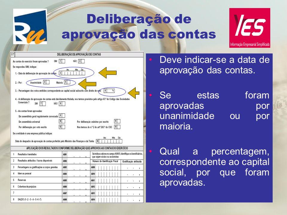 Deliberação de aprovação das contas Deve indicar-se a data de aprovação das contas. Se estas foram aprovadas por unanimidade ou por maioria. Qual a pe