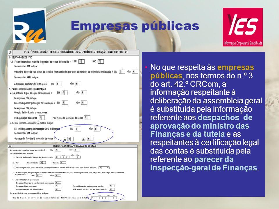 Empresas públicas No que respeita às empresas públicas, nos termos do n.º 3 do art. 42.º CRCom, a informação respeitante à deliberação da assembleia g