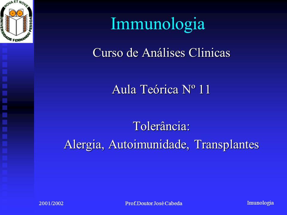 Imunologia 2001/2002Prof. Doutor José Cabeda HLA matching