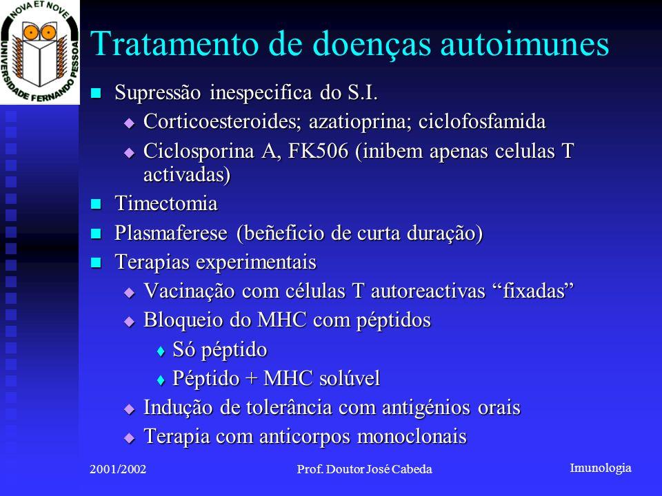 Imunologia 2001/2002Prof. Doutor José Cabeda Tratamento de doenças autoimunes Supressão inespecifica do S.I. Supressão inespecifica do S.I. Corticoest