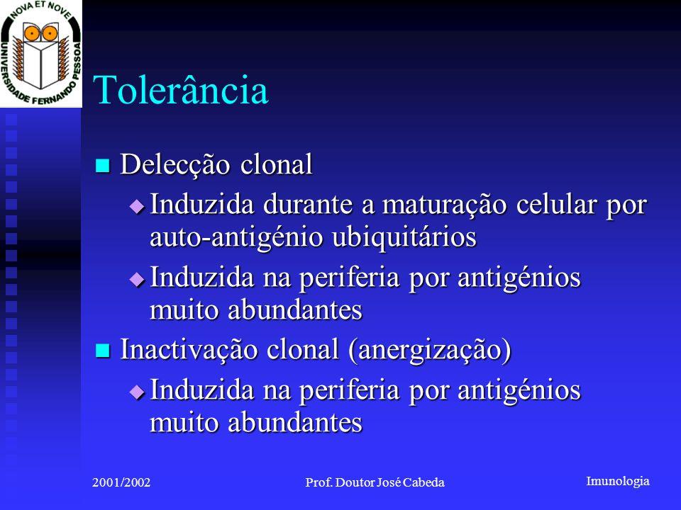 Imunologia 2001/2002Prof. Doutor José Cabeda Tolerância Delecção clonal Delecção clonal Induzida durante a maturação celular por auto-antigénio ubiqui