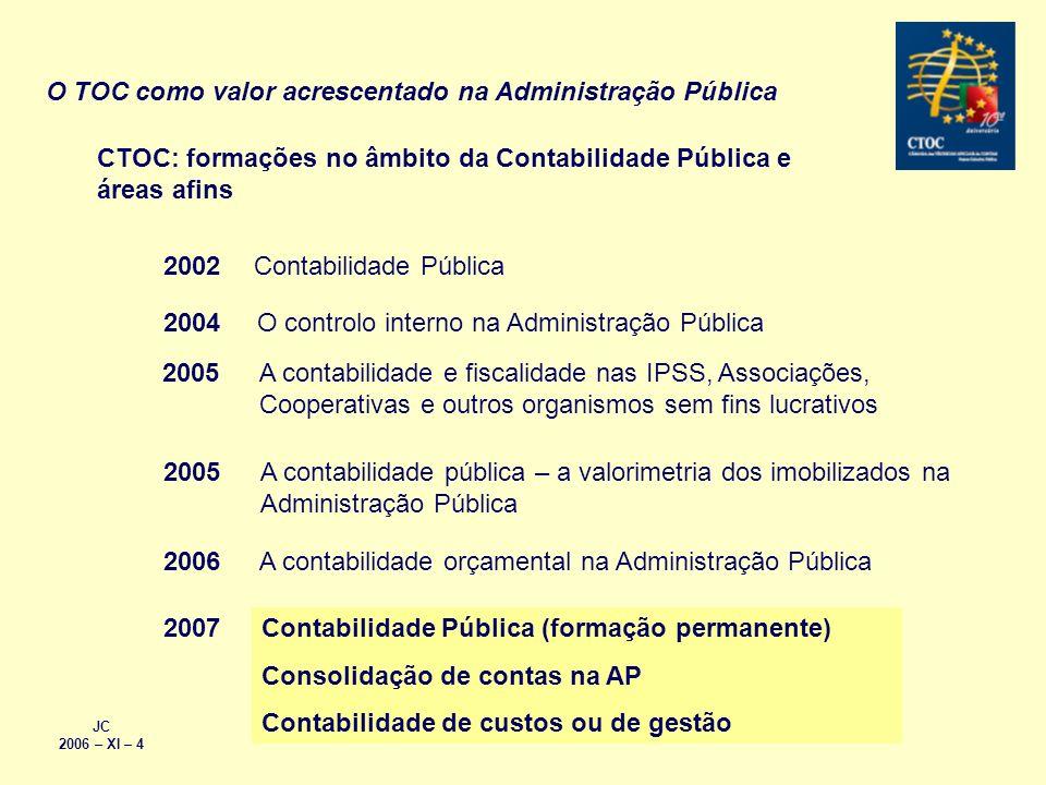 CTOC: formações no âmbito da Contabilidade Pública e áreas afins Contabilidade Pública2002 O controlo interno na Administração Pública2004 A contabili