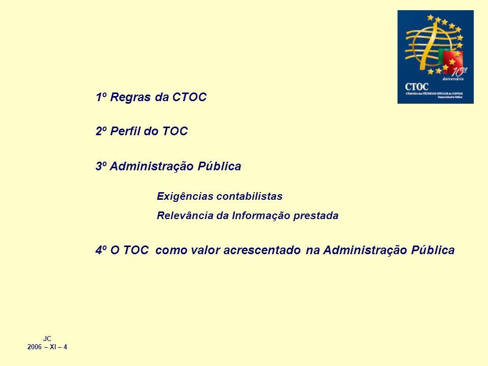 JC 2006 – XI – 4 1º Regras da CTOC 2º Perfil do TOC 3º Administração Pública 4º O TOC como valor acrescentado na Administração Pública Exigências cont