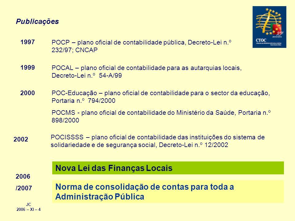 1997 POCP – plano oficial de contabilidade pública, Decreto-Lei n.º 232/97; CNCAP 1999 POCAL – plano oficial de contabilidade para as autarquias locai