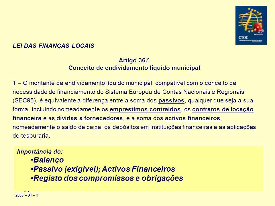 JC 2006 – XI – 4 LEI DAS FINANÇAS LOCAIS Artigo 36.º Conceito de endividamento líquido municipal 1 – O montante de endividamento líquido municipal, co