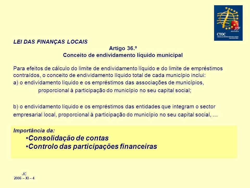 JC 2006 – XI – 4 LEI DAS FINANÇAS LOCAIS Artigo 36.º Conceito de endividamento líquido municipal Para efeitos de cálculo do limite de endividamento lí