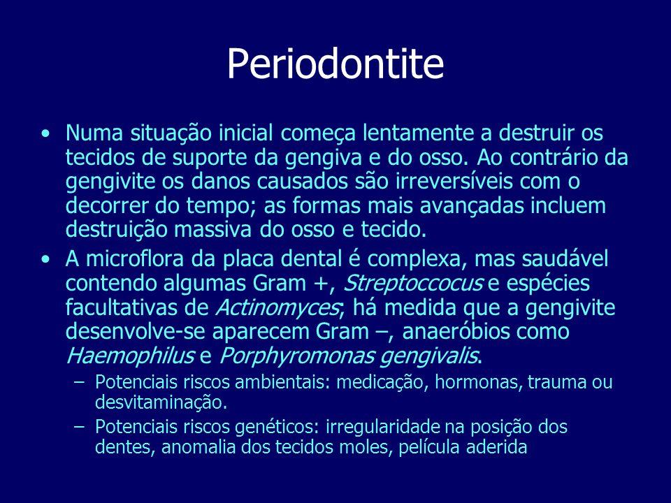 Periodontite Numa situação inicial começa lentamente a destruir os tecidos de suporte da gengiva e do osso. Ao contrário da gengivite os danos causado