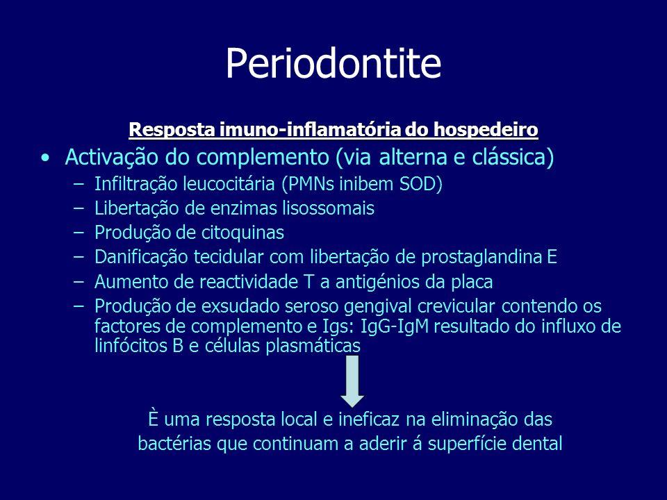 Periodontite Testes de diagnóstico laboratorial Cultura de anaeróbios periodontopatogénicos ELISA, ex para a colagenase e enzimas proteolíticas Serologia para as Igs (baixa IgG2 e alta para as outras subclasses) Citometria de fluxo ( cél.