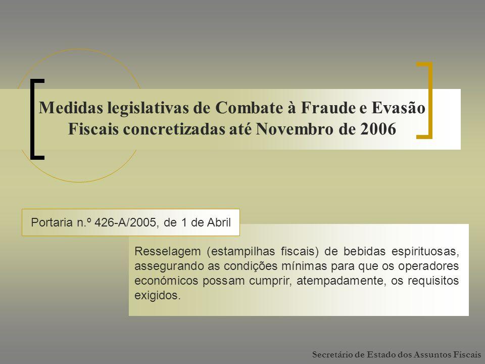 Medidas legislativas de Combate à Fraude e Evasão Fiscais concretizadas até Novembro de 2006 Portaria n.º 426-A/2005, de 1 de Abril Resselagem (estampilhas fiscais) de bebidas espirituosas, assegurando as condições mínimas para que os operadores económicos possam cumprir, atempadamente, os requisitos exigidos.