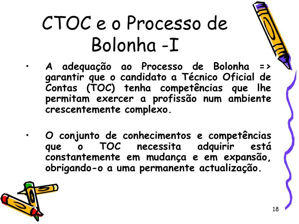 19 CTOC e o Processo de Bolonha -II A Comissão eventual para o acompanhamento do Processo de Bolonha da CTOC, reconhecendo os grandes desafios da profissão para os próximos anos, propôs: Grau académico do ensino superior com a duração mínima de três anos; Valor mínimo de 84 ECTs de formação nas áreas nucleares; Valor mínimo de 45 ECTs nas áreas complementares.