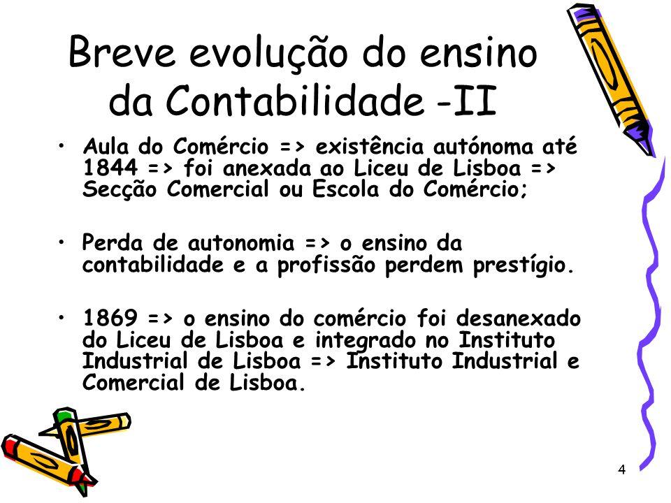 5 Breve evolução do ensino da Contabilidade -III Porto: a primeira Escola de Comércio apareceu em 1803 com a criação da Academia Real da Marinha e Comércio do Porto.