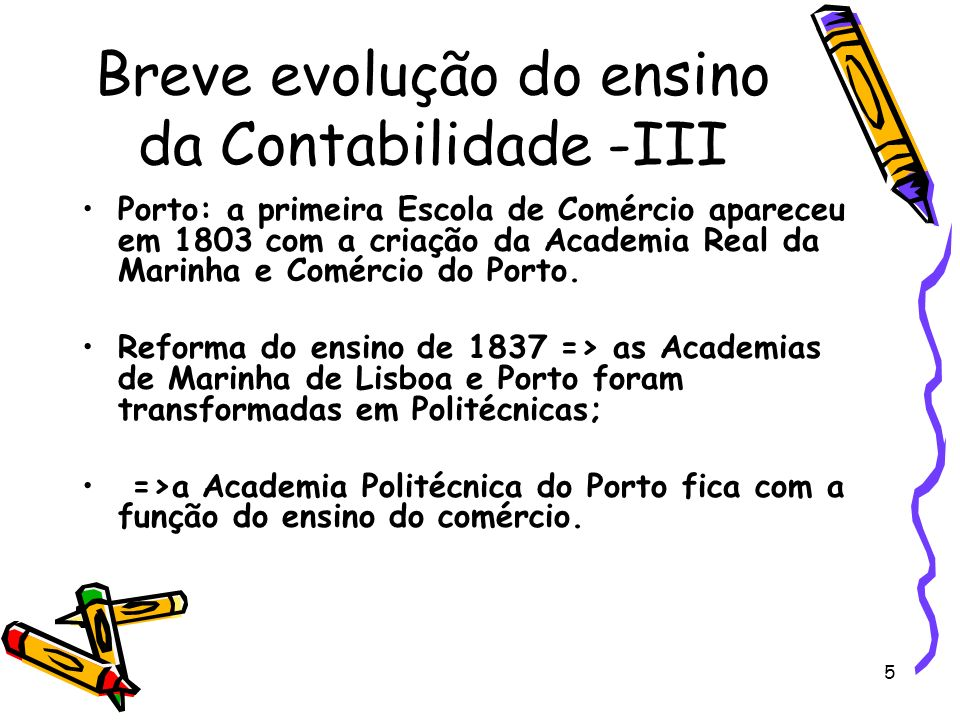 6 Breve evolução do ensino da Contabilidade -IV 1886: alteração do Instituto Industrial do Porto para Instituto Industrial e Comercial (IIC) => Academia Politécnica do Porto perde importância => extinta em 1897.