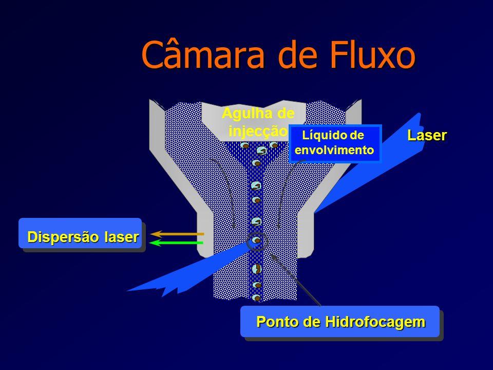 l Injecção da amostra no líquido de envolvimento (sheath fluid), passando por um pequeno orifício central do fluxo (50-300 µm) l As partículas fluem n