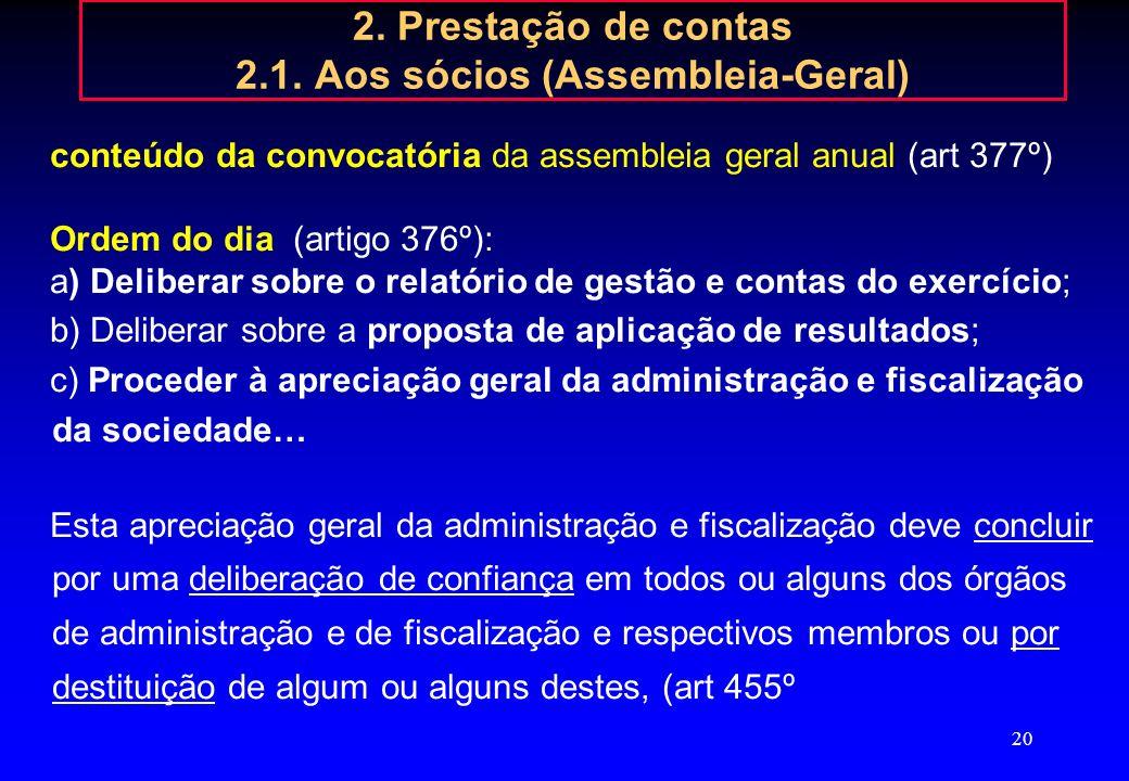 19 2. Prestação de contas 2.1. Aos sócios (Assembleia-Geral) Até 30 dias antes da data da Assembleia Geral o CA deve apresentar as contas ao Conselho