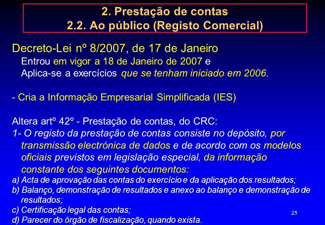 24 2. Prestação de contas 2.2. Ao público (Registo Comercial) Obrigação de Registo Sociedades por Quotas, Anónimas e em comandita por acções (alínea n