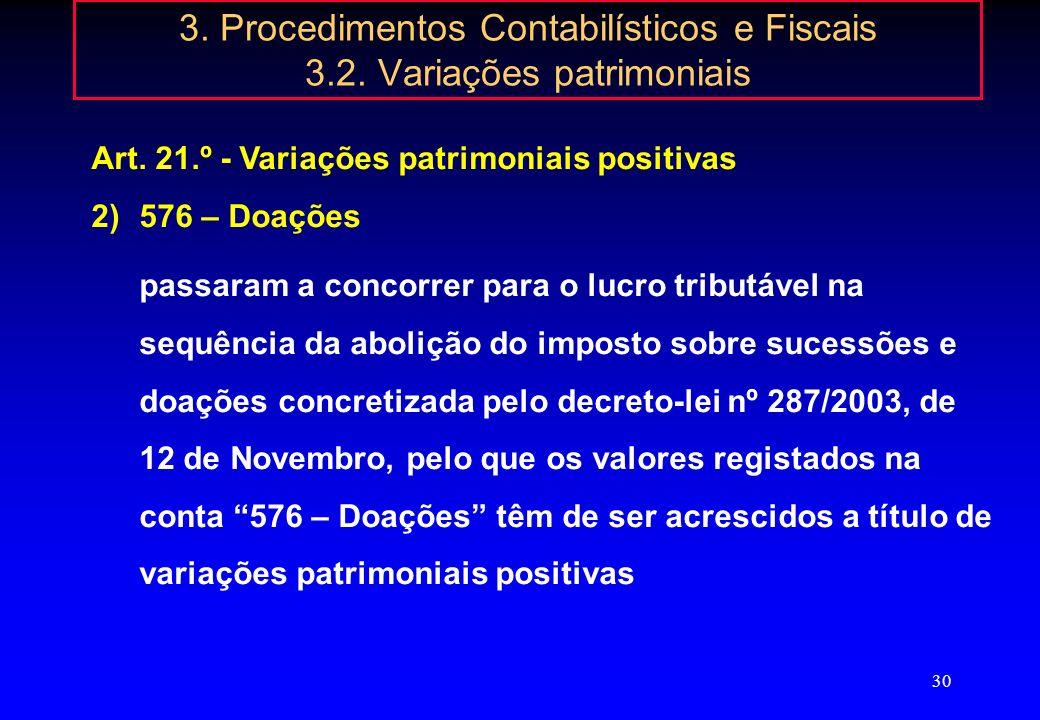 29 3. Procedimentos Contabilísticos e Fiscais 3.2. Variações patrimoniais Art. 21.º - Variações patrimoniais positivas 1)52 - Acções (quotas) próprias