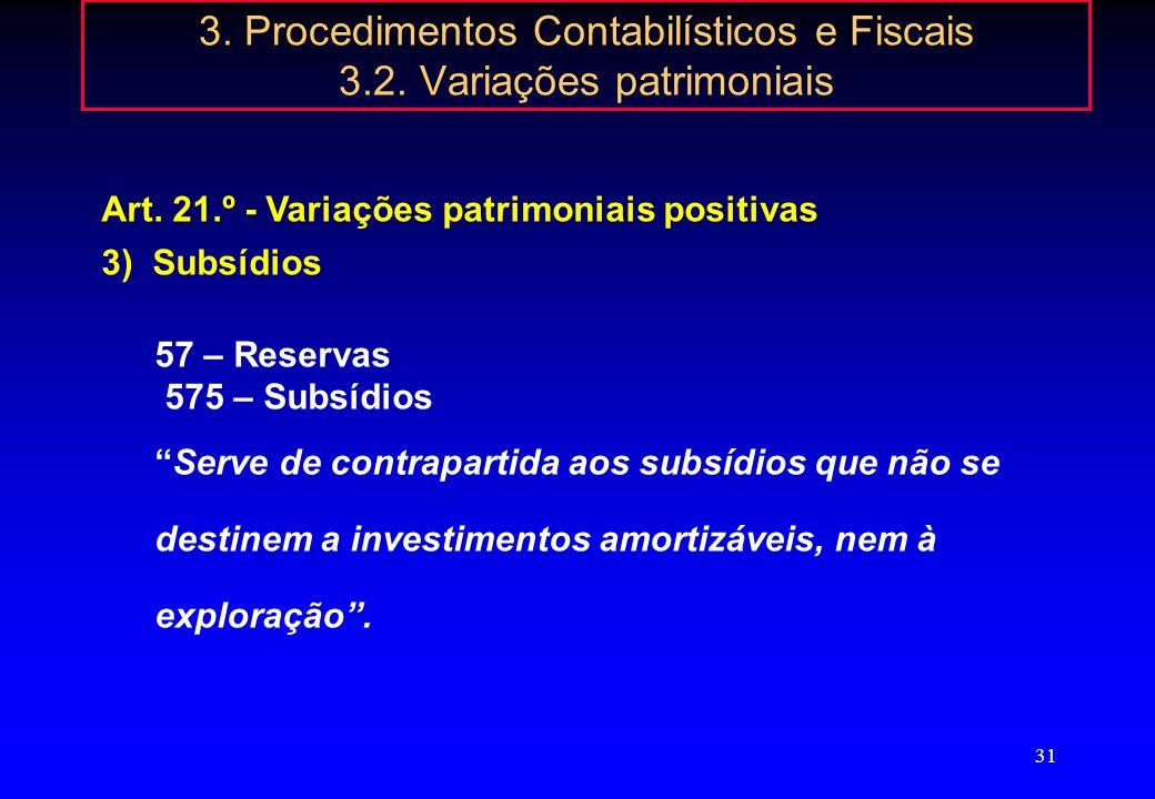 30 3. Procedimentos Contabilísticos e Fiscais 3.2. Variações patrimoniais Art. 21.º - Variações patrimoniais positivas 2)576 – Doações passaram a conc