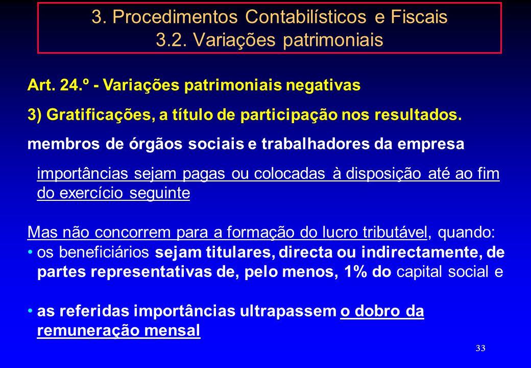 32 3. Procedimentos Contabilísticos e Fiscais 3.2. Variações patrimoniais Art 24.º - Variações patrimoniais negativas 1) 52 - Acções (quotas) próprias