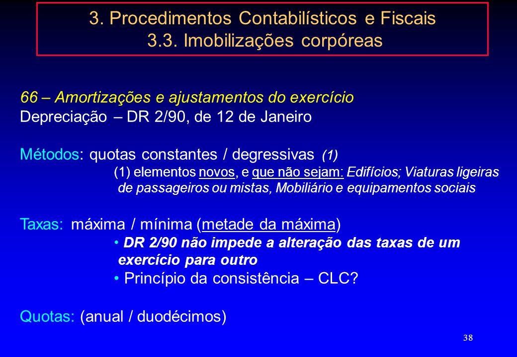 37 3. Procedimentos Contabilísticos e Fiscais 3.3. Imobilizações corpóreas despesas financeiras imobilizado adquirido por recurso a financiamento alhe
