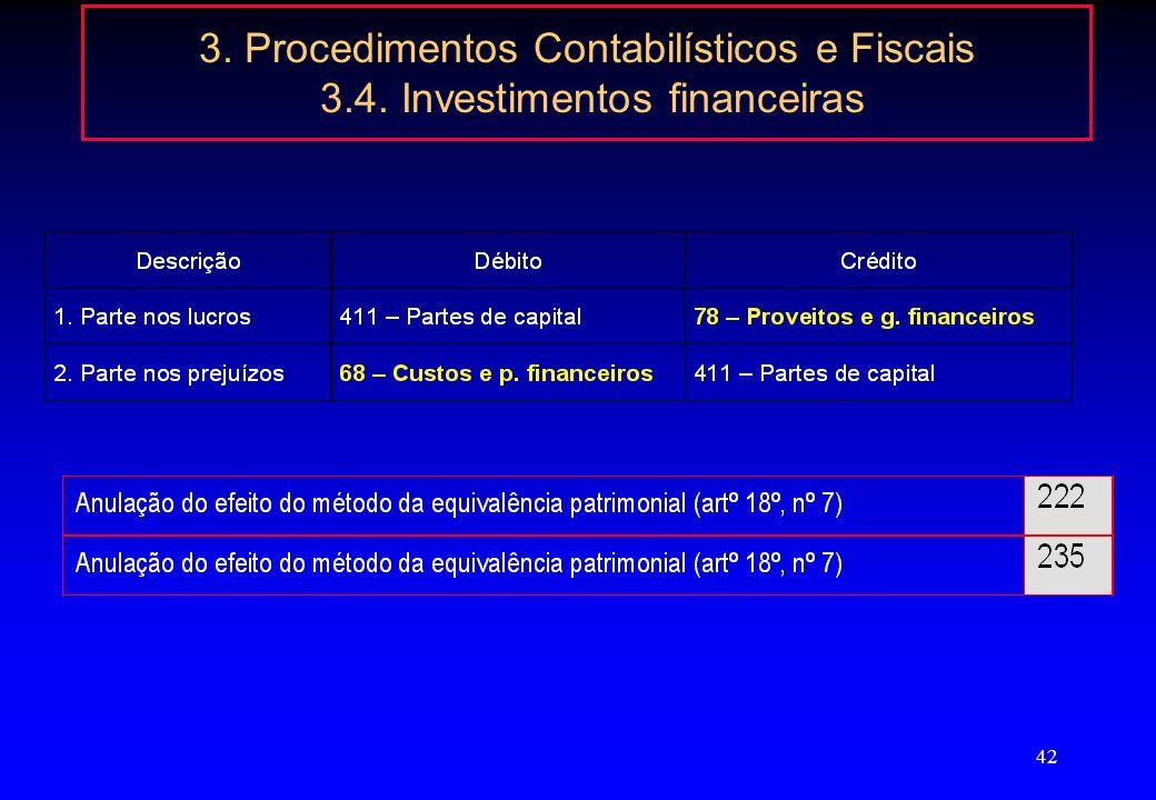 41 3. Procedimentos Contabilísticos e Fiscais 3.4. Investimentos financeiras Valorimetria de partes de capital em filiais e associadas (POC) a)Pelo se