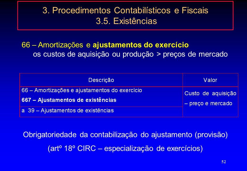 51 3. Procedimentos Contabilísticos e Fiscais 3.5. Existências Inventário físico - contagens No inventário intermitente: contagens físicas com referên