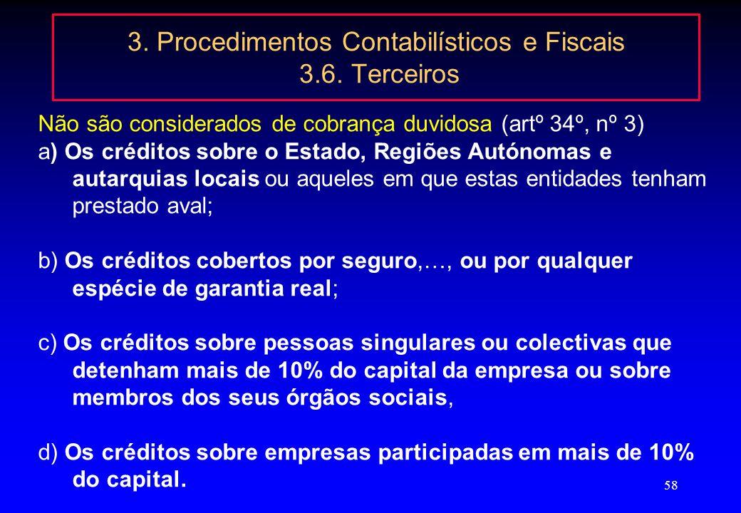 57 3. Procedimentos Contabilísticos e Fiscais 3.6. Terceiros créditos de cobrança duvidosa no ajustamento por mora há duas condições: uma, relativa ao