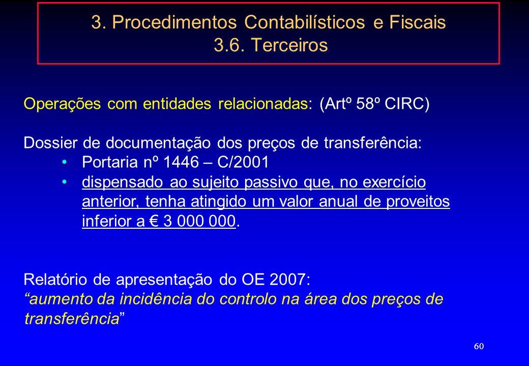 59 3. Procedimentos Contabilísticos e Fiscais 3.6. Terceiros Operações com entidades relacionadas: (Artº 58º CIRC) Residentes, informação no Anexo A d