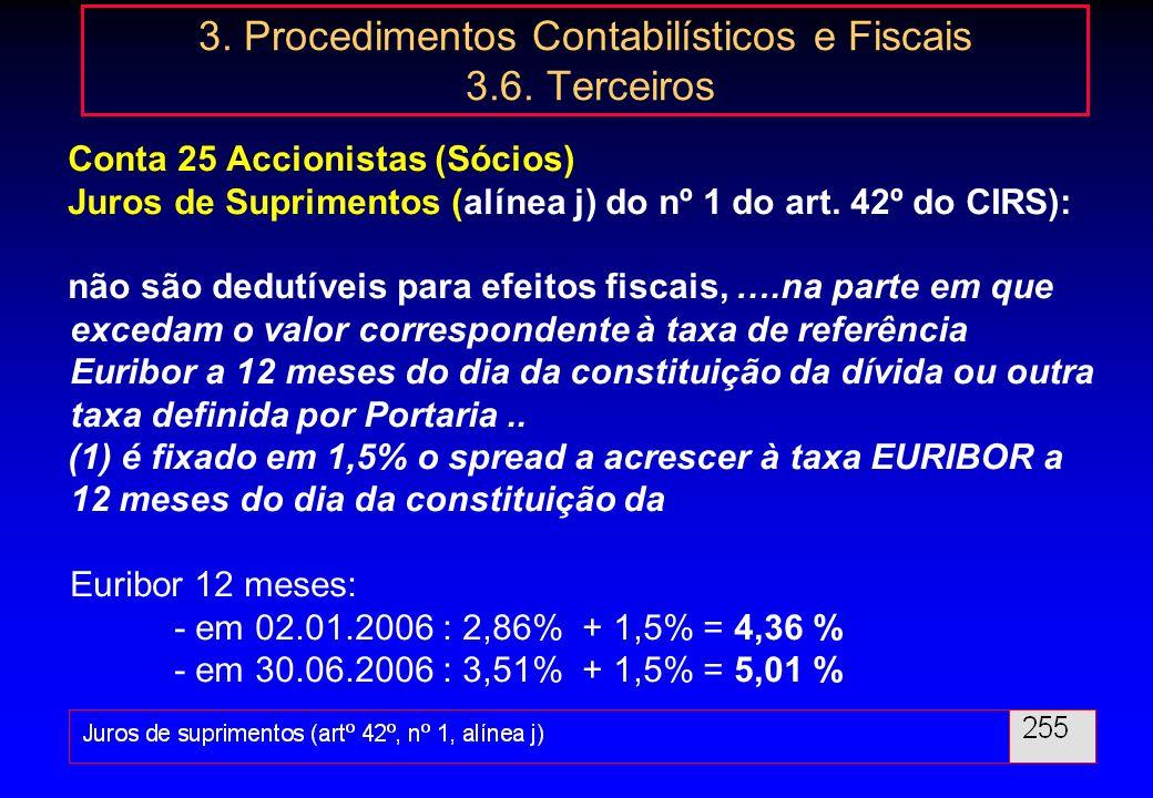 63 3. Procedimentos Contabilísticos e Fiscais 3.6. Terceiros Conta 25 Accionistas (Sócios) Artigo 6º - Presunções relativas a rendimentos da categoria