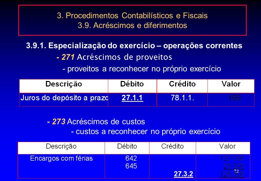 71 3. Procedimentos Contabilísticos e Fiscais 3.9. Acréscimos e diferimentos 3.9.1. Especialização do exercício – operações correntes