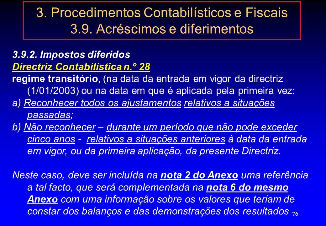 75 3. Procedimentos Contabilísticos e Fiscais 3.9. Acréscimos e diferimentos 3.9.2. Impostos diferidos DescriçãoSinal Resultado contabilístico+ / - Di