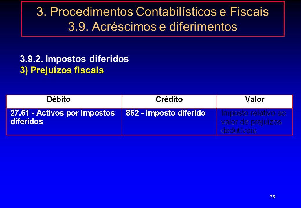 78 3. Procedimentos Contabilísticos e Fiscais 3.9. Acréscimos e diferimentos 3.9.2. Impostos diferidos 2) Ajustamentos não dedutíveis ou para além dos