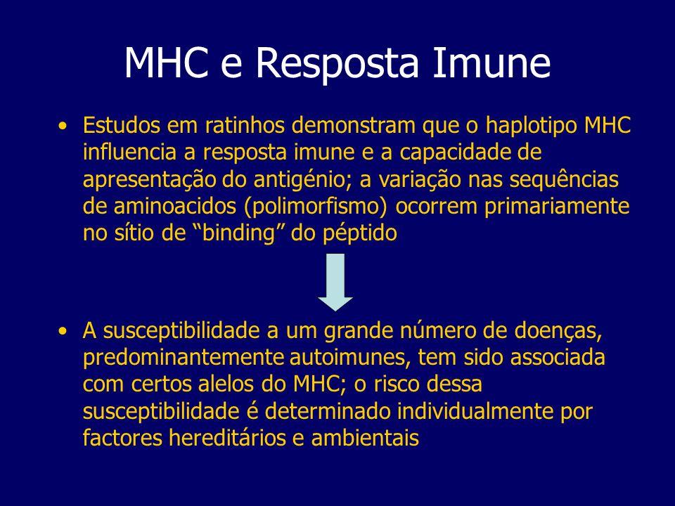MHC e Resposta Imune Estudos em ratinhos demonstram que o haplotipo MHC influencia a resposta imune e a capacidade de apresentação do antigénio; a var